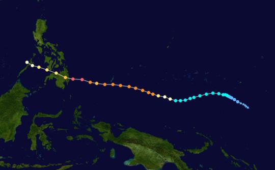 Typhoon Bopha Track